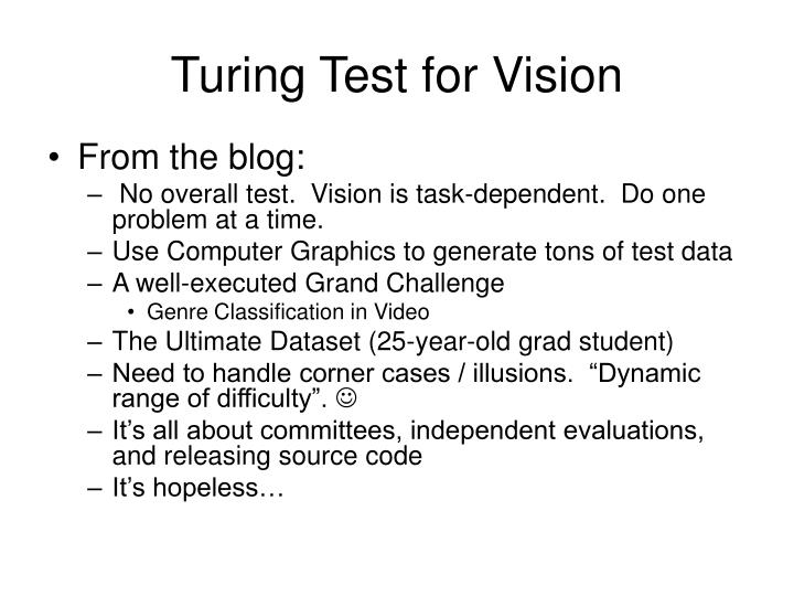 Turing Test for Vision