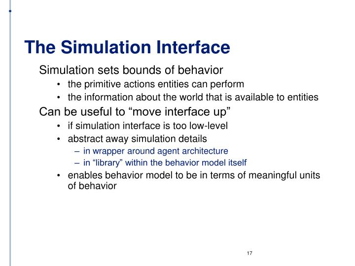 The Simulation Interface