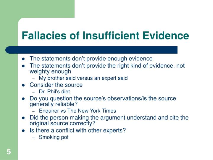Fallacies of Insufficient Evidence