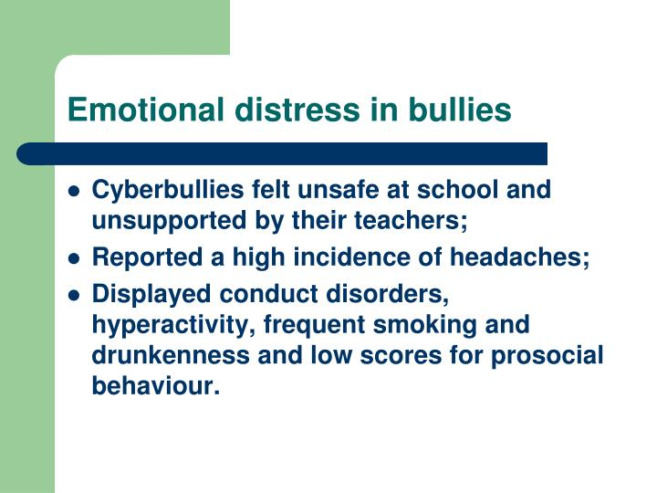 Emotional distress in bullies
