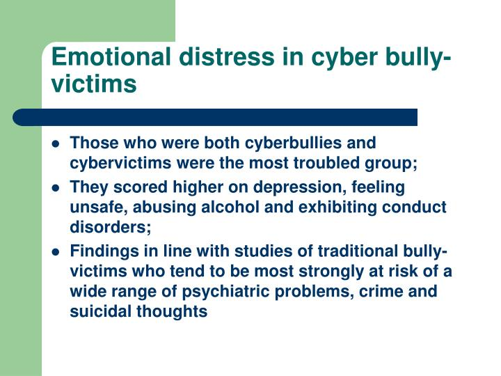 Emotional distress in cyber bully-victims