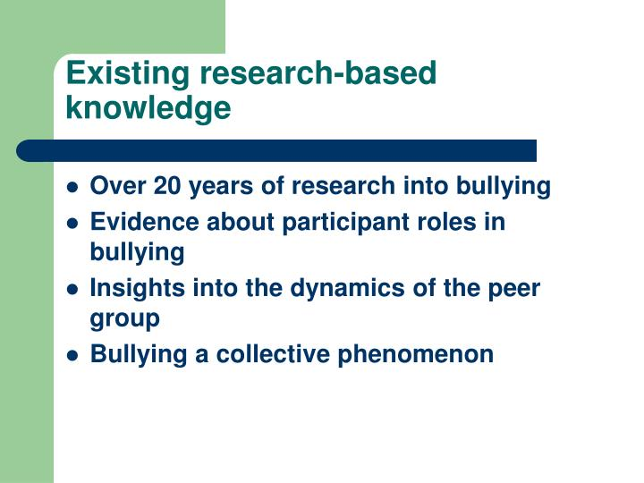 Existing research-based knowledge