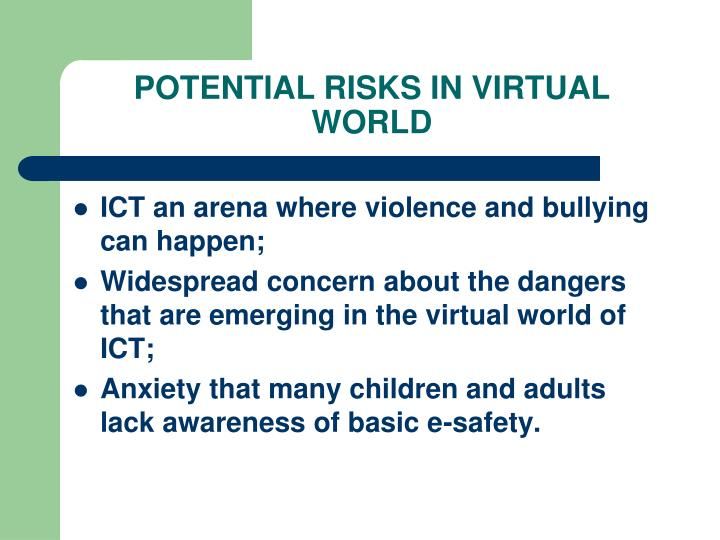POTENTIAL RISKS IN VIRTUAL WORLD