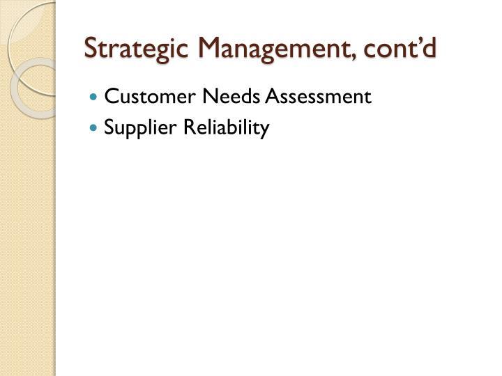 Strategic Management, cont'd