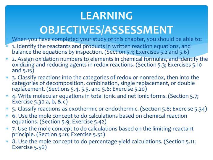LEARNING OBJECTIVES/ASSESSMENT