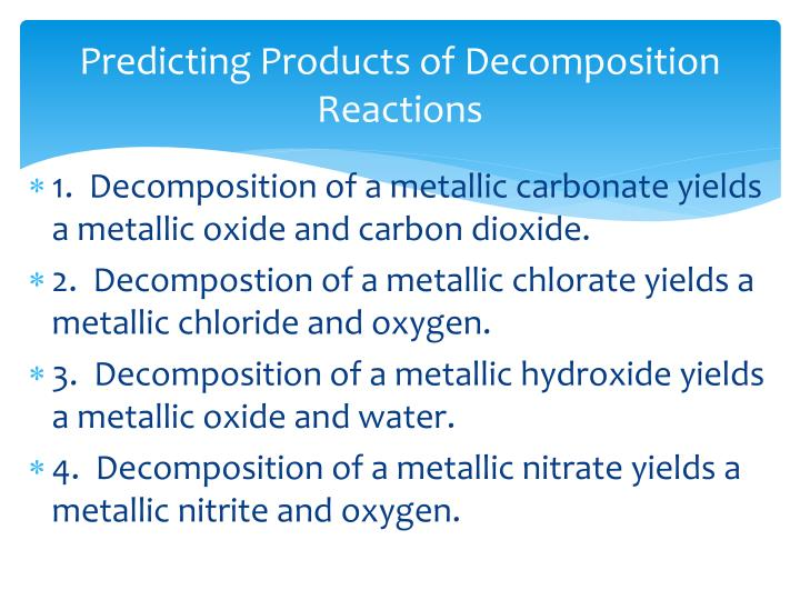 Predicting Products of Decomposition Reactions