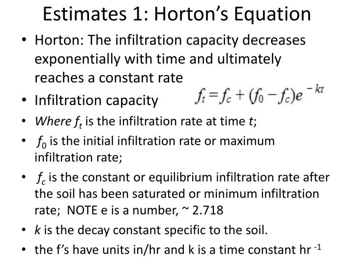 Estimates 1: Horton's Equation