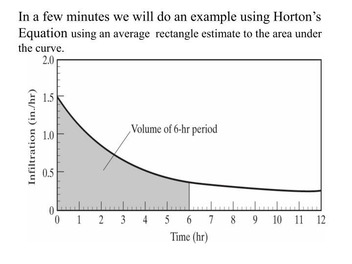 In a few minutes we will do an example using Horton's Equation