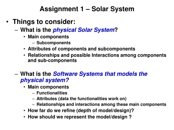 Assignment 1 – Solar System