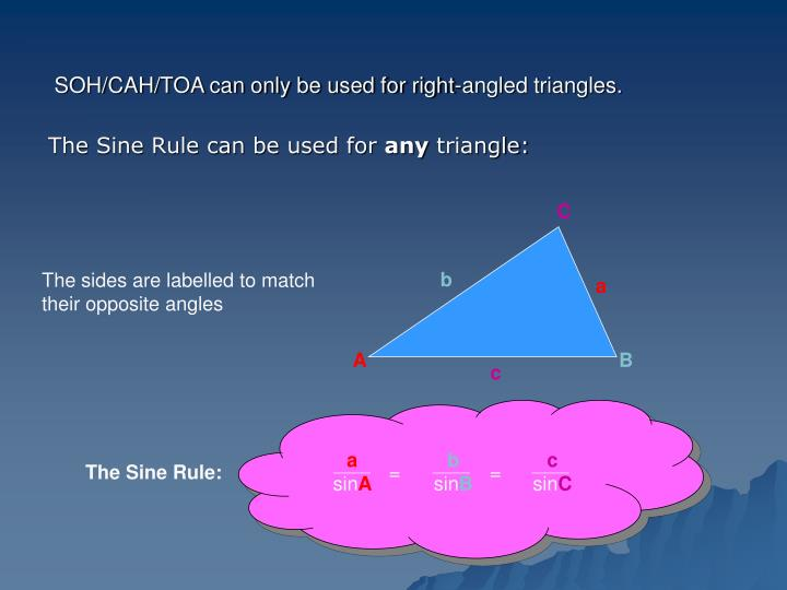 Soh cah toa can only be used for right angled triangles