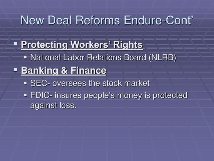 New Deal Reforms Endure-Cont'