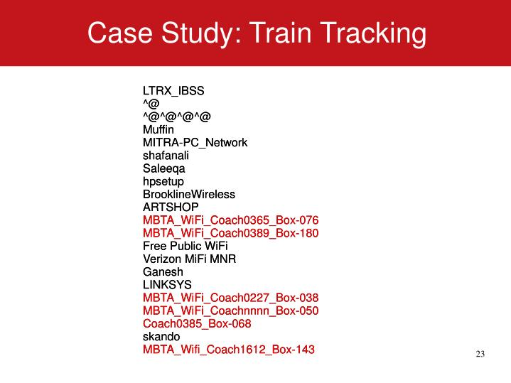 Case Study: Train Tracking