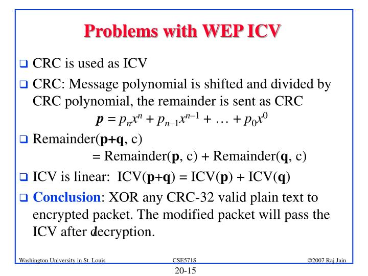 Problems with WEP ICV