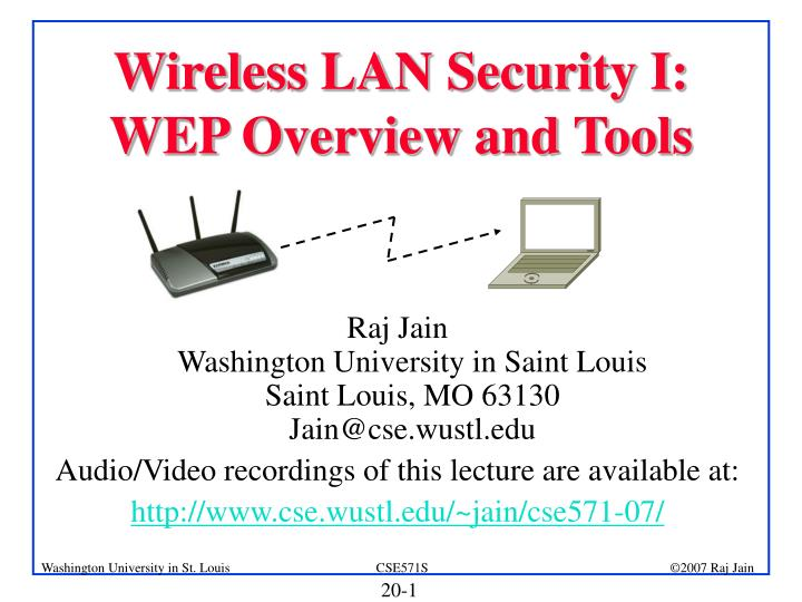 Wireless LAN Security I: WEP Overview and Tools