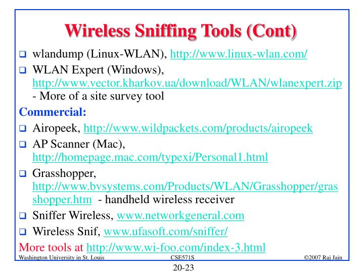 Wireless Sniffing Tools (Cont)