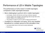 performance of lb in mobile topologies