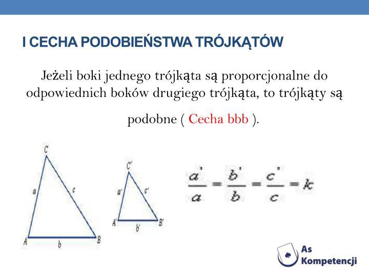 I cecha podobieństwa trójkątów