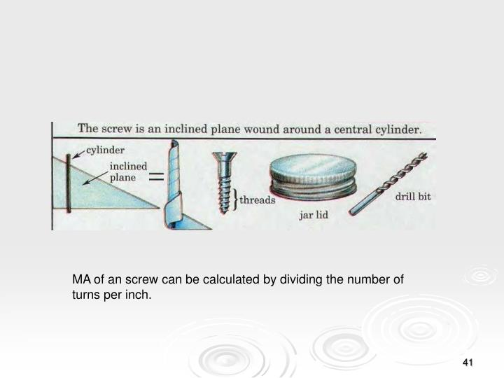 MA of an screw can be calculated by dividing the number of turns per inch.