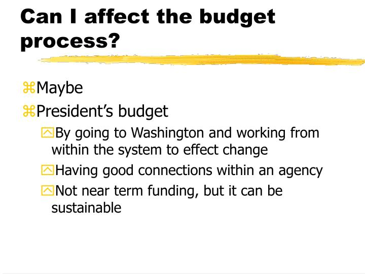 Can I affect the budget process?