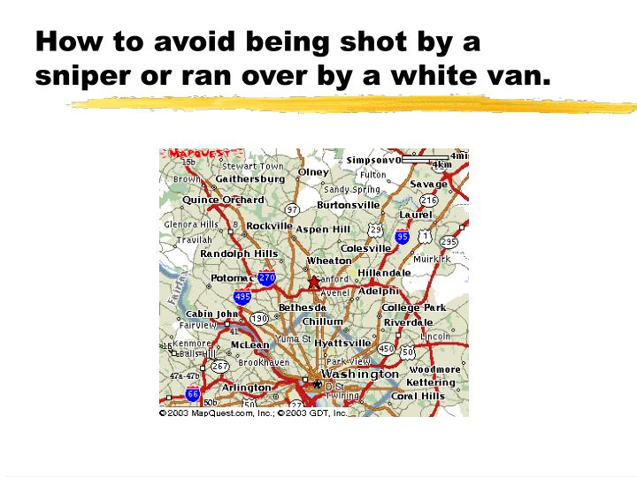 How to avoid being shot by a sniper or ran over by a white van.