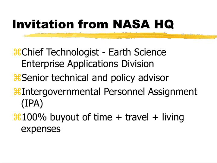 Invitation from NASA HQ