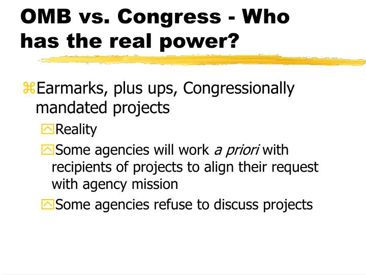 OMB vs. Congress - Who has the real power?