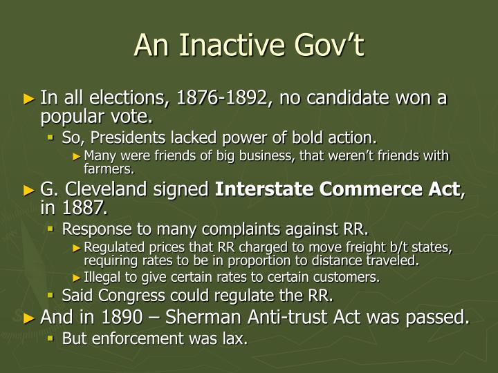 An Inactive Gov't