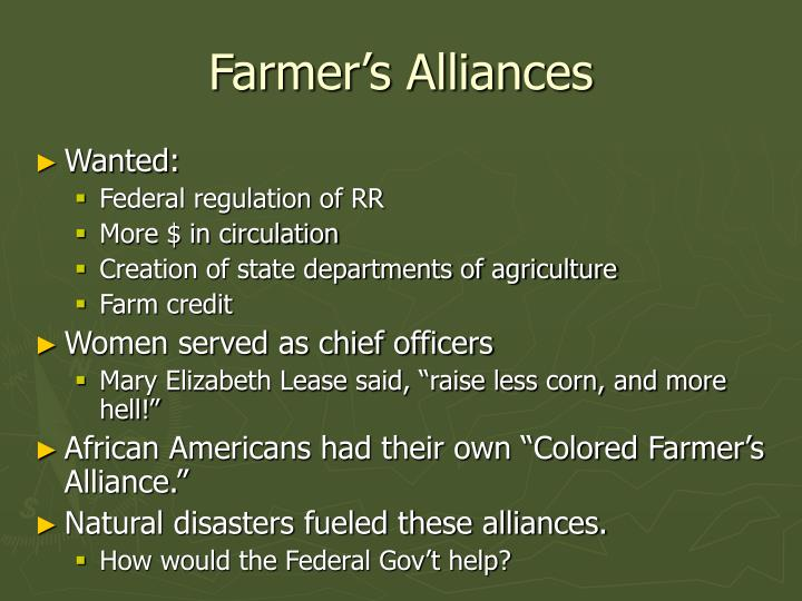 Farmer's Alliances