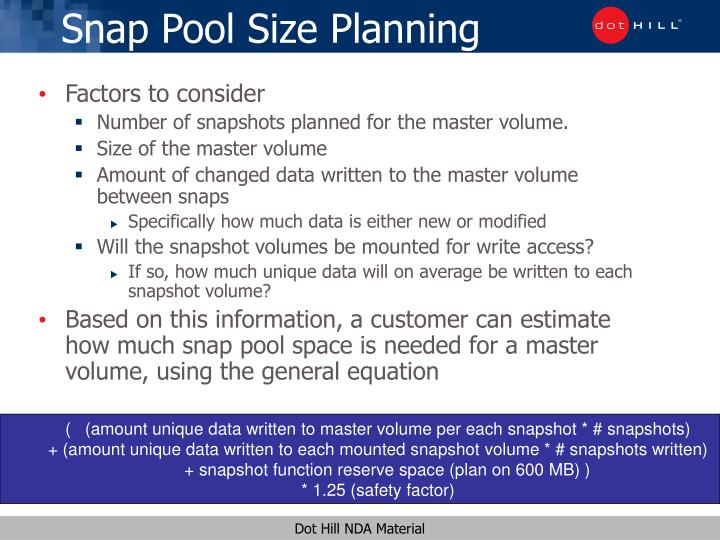 Snap pool size planning