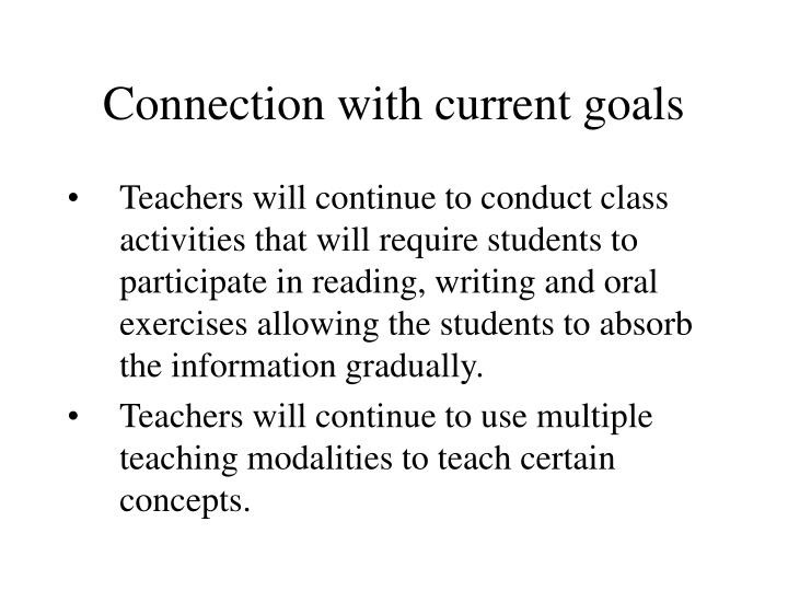 Connection with current goals
