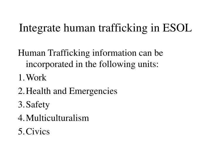 Integrate human trafficking in ESOL