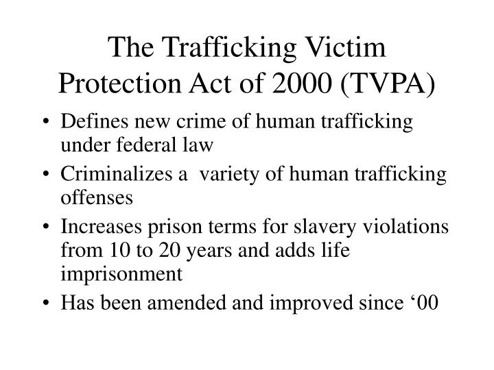 The Trafficking Victim Protection Act of 2000 (TVPA)