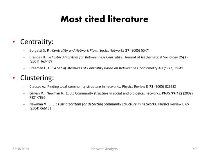 Most cited literature