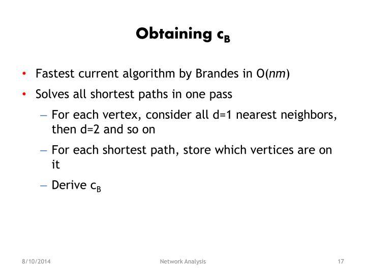 Obtaining c