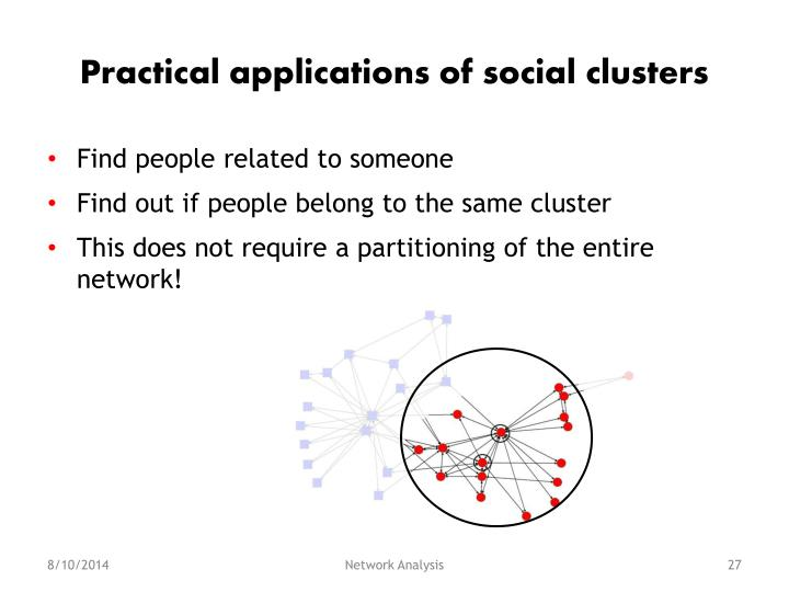 Practical applications of social clusters