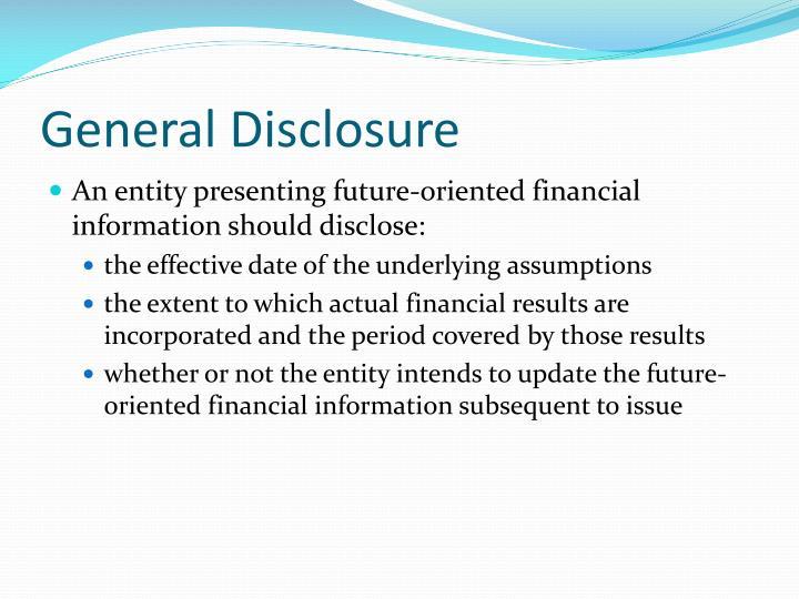 General Disclosure