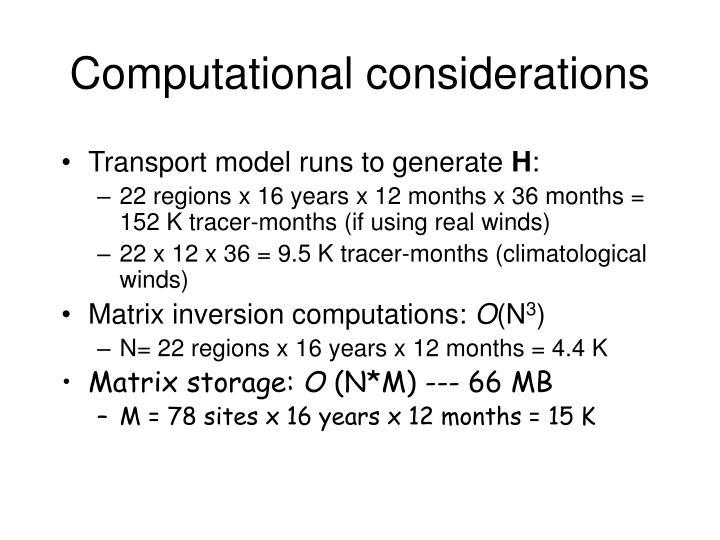 Transport model runs to generate