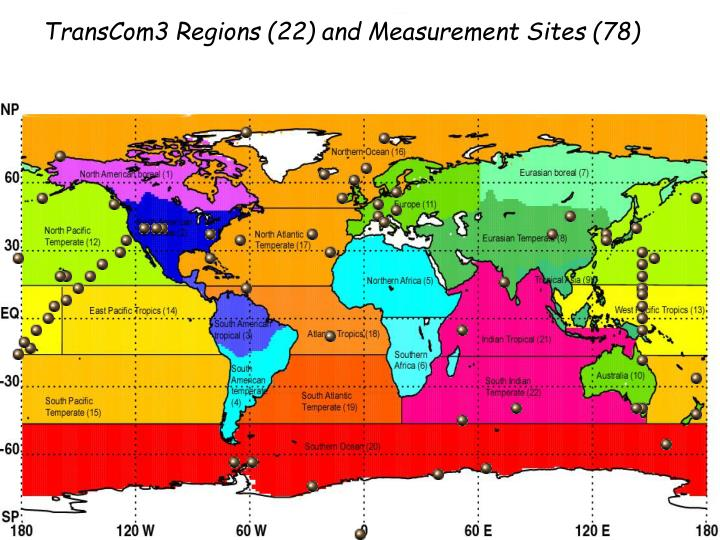 TransCom3 Regions (22) and Measurement Sites (78)