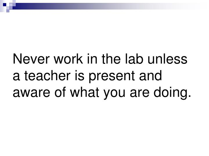 Never work in the lab unless a teacher is present and aware of what you are doing