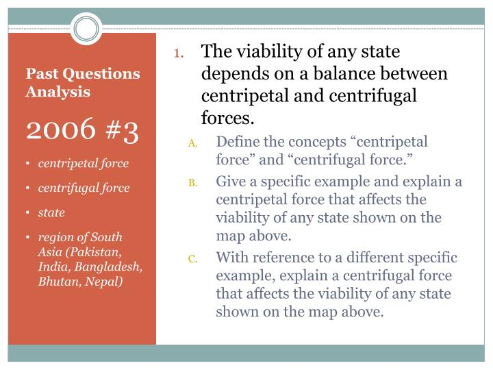 The viability of any state depends on a balance between centripetal and centrifugal forces.