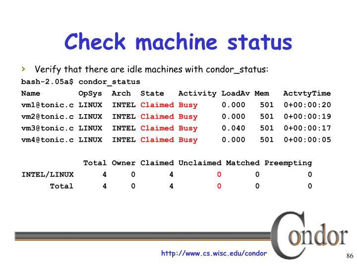 Check machine status