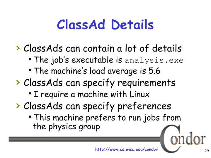 ClassAd Details