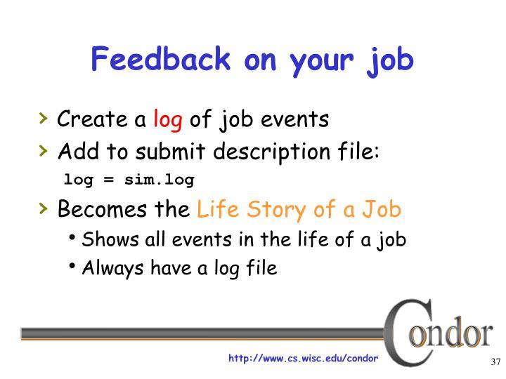 Feedback on your job