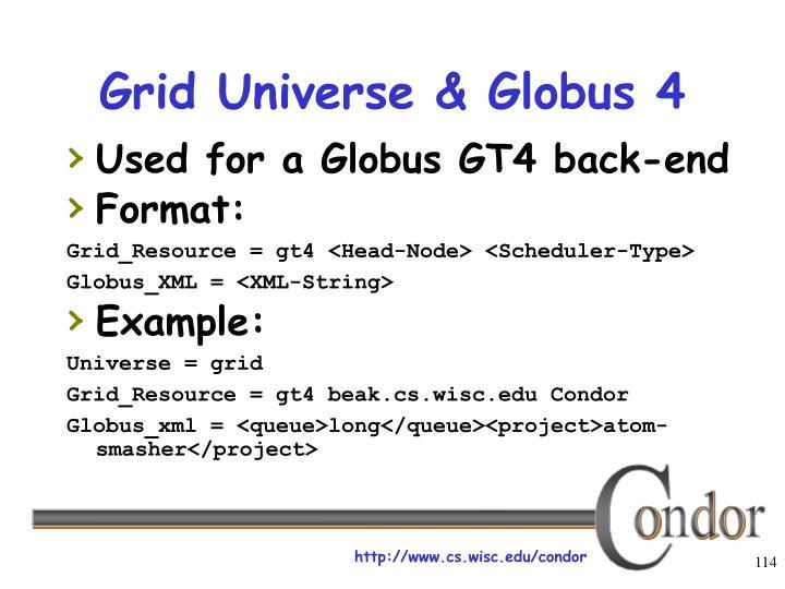 Grid Universe & Globus 4