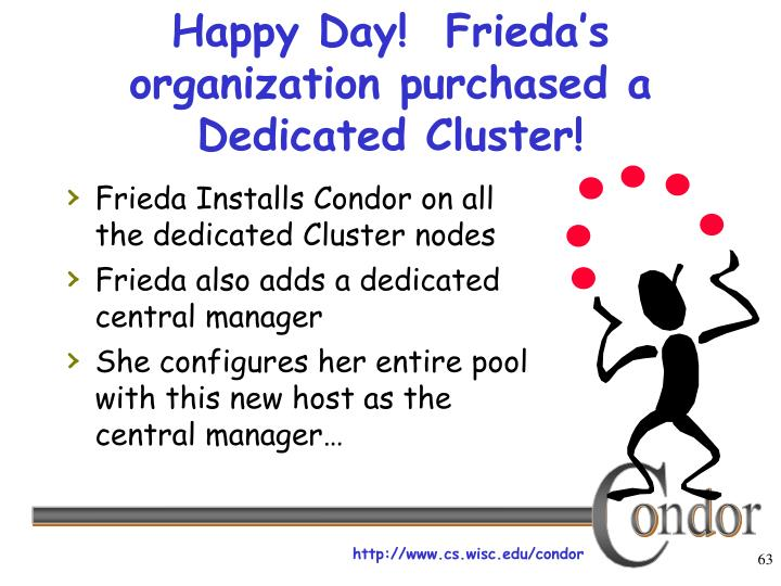 Happy Day!  Frieda's organization purchased a Dedicated Cluster!