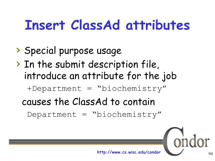 Insert ClassAd attributes