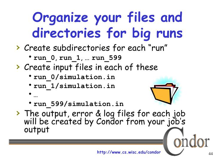 Organize your files and directories for big runs