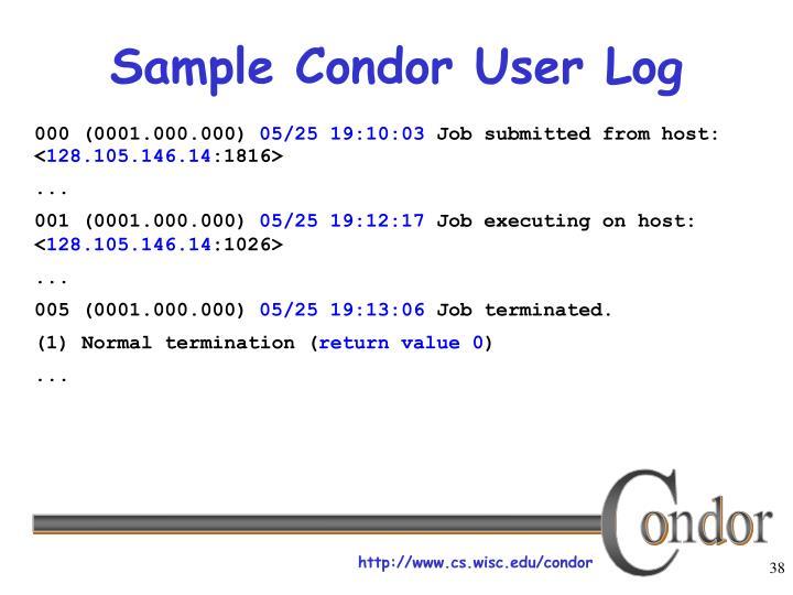 Sample Condor User Log