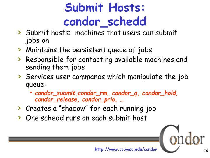 Submit Hosts: