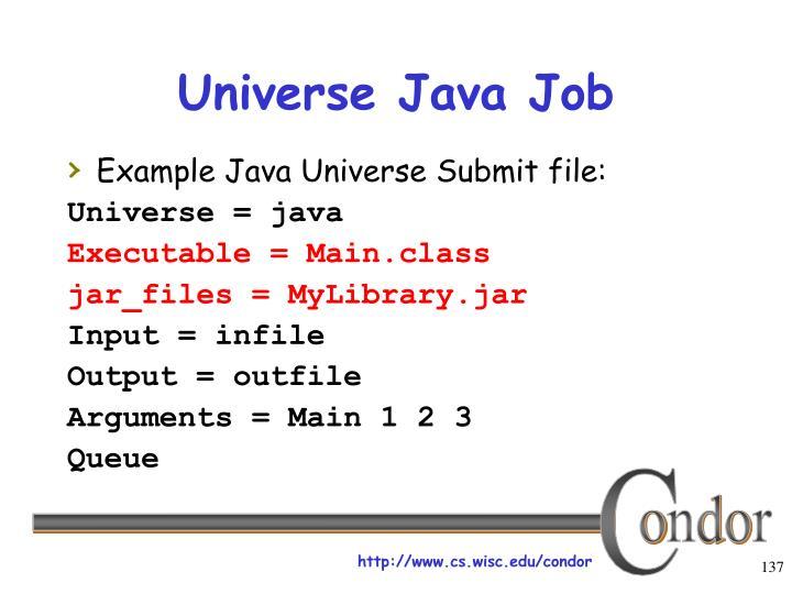 Universe Java Job